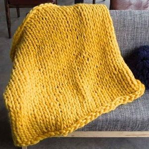 Yellow Chunky Cable Knit Blanket